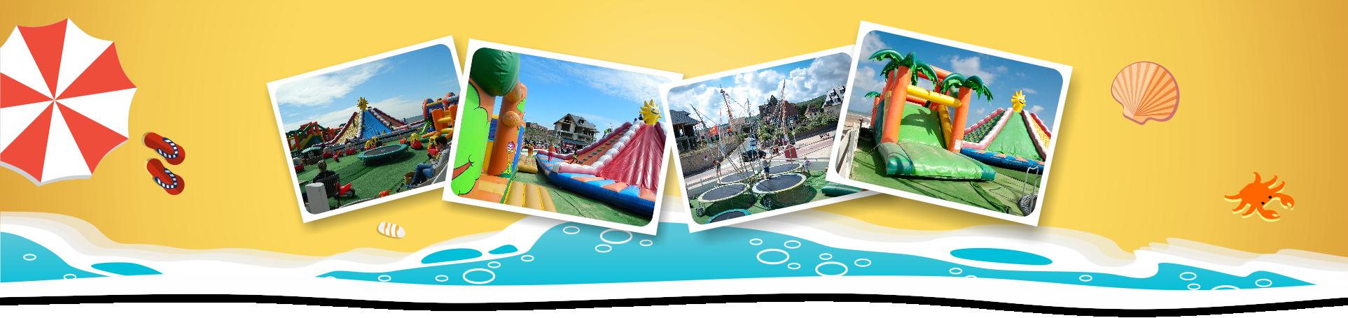 parc attractions loisirs enfants jeux plage mer location gonflables géants famille salto trampolines toboggans benerville deauville trouville calvados normandie